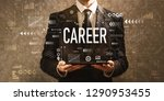 career with businessman holding ... | Shutterstock . vector #1290953455