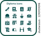 diploma icon set. 16 filled... | Shutterstock .eps vector #1290959098