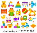 baby toy simple flat cartoon... | Shutterstock .eps vector #1290979288