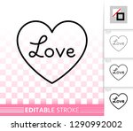 heart thin line icon. outline... | Shutterstock .eps vector #1290992002