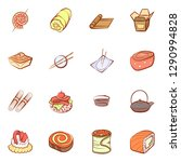 japanese food and snacks set.... | Shutterstock .eps vector #1290994828