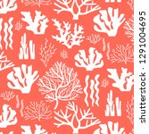 pattern with different corals... | Shutterstock .eps vector #1291004695