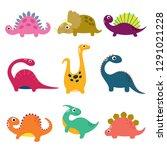 funny cartoon dinosaurs... | Shutterstock .eps vector #1291021228
