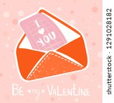 valentine's day greeting card.... | Shutterstock .eps vector #1291028182