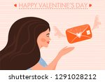 valentine's day card with happy ... | Shutterstock .eps vector #1291028212