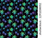 seamless pattern with palm... | Shutterstock .eps vector #1291038052