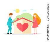 new house for the family... | Shutterstock .eps vector #1291038538