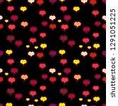 sketch heart elements on black  ... | Shutterstock .eps vector #1291051225
