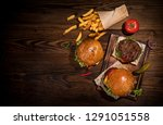 top view of home made tasty... | Shutterstock . vector #1291051558