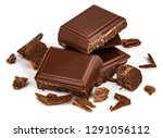 milk chocolate pieces isolated... | Shutterstock . vector #1291056112