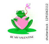 cute green frog with heart... | Shutterstock .eps vector #1291062112