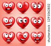 heart smiley emoji vector set... | Shutterstock .eps vector #1291062832