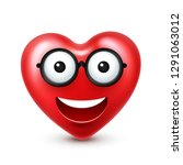 heart smiley emoji vector for... | Shutterstock .eps vector #1291063012