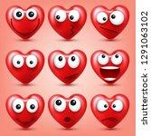 heart smiley emoji vector set...   Shutterstock .eps vector #1291063102