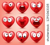 heart smiley emoji vector set... | Shutterstock .eps vector #1291063105