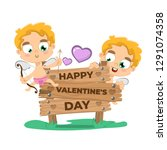 valentine's day background with ... | Shutterstock .eps vector #1291074358
