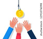 coin on hook. dollar bait....   Shutterstock .eps vector #1291076098
