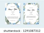 set of card with flower rose ... | Shutterstock .eps vector #1291087312