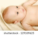 beautiful little boy lying on... | Shutterstock . vector #129109625