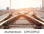 railway in fog on station ... | Shutterstock . vector #129110912