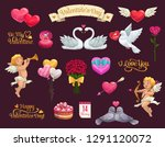 valentines day vector icons of... | Shutterstock .eps vector #1291120072