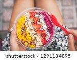healthy fruit breakfast pitaya... | Shutterstock . vector #1291134895
