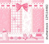 set baby patterns. vector... | Shutterstock .eps vector #129114482
