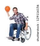 man in wheelchair with... | Shutterstock . vector #129116156