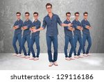 young casual man welcoming to... | Shutterstock . vector #129116186
