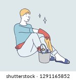 a man is sitting and resting... | Shutterstock .eps vector #1291165852