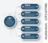 vector abstract 3d paper... | Shutterstock .eps vector #1291167088