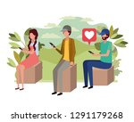 group of people with smartphone ... | Shutterstock .eps vector #1291179268
