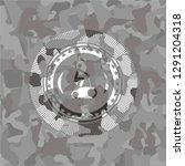 stationary bike icon on grey... | Shutterstock .eps vector #1291204318