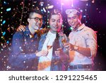 joyful young asian people... | Shutterstock . vector #1291225465