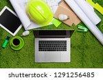 workplace with helmet ... | Shutterstock . vector #1291256485