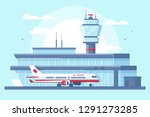 flat airplane in airport on... | Shutterstock .eps vector #1291273285