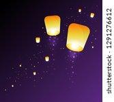 sky lantern in a night sky.... | Shutterstock .eps vector #1291276612