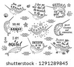 set of hand drawn cute funny... | Shutterstock .eps vector #1291289845