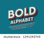 vector retro bold font. set of... | Shutterstock .eps vector #1291293745
