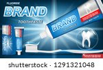 mint toothpaste concept with... | Shutterstock .eps vector #1291321048
