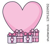 gift box present with heart | Shutterstock .eps vector #1291325902