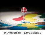 denmark marked with a flag on... | Shutterstock . vector #1291330882