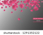 falling realistic rose petals.... | Shutterstock .eps vector #1291352122