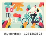 bike to work graphic. mixcolor... | Shutterstock .eps vector #1291363525