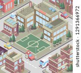 city district in isometric 3d... | Shutterstock .eps vector #1291366972