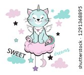 Stock vector cat unicorn with pink clouds and stars on a white background 1291368895