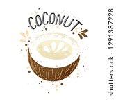vector hand draw coconut... | Shutterstock .eps vector #1291387228