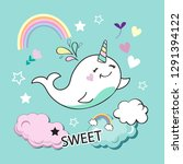 cute whale unicorn on a blue... | Shutterstock .eps vector #1291394122