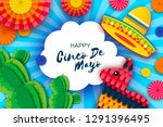 happy cinco de mayo greeting... | Shutterstock . vector #1291396495