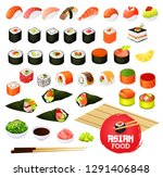 sushi and rolls types  japanese ... | Shutterstock .eps vector #1291406848